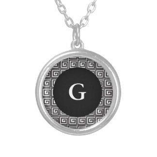 Greek Key Silver Plated Necklace