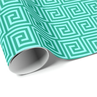 Greek Key, turquoise and aqua Wrapping Paper