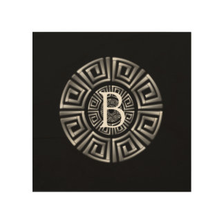 Greek Monogram Circle Motif Wood Wall Art