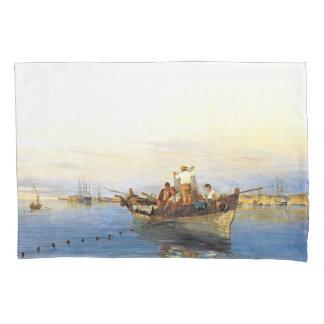 Greek Net Fishing Boat Islands Ocean Pillowcase