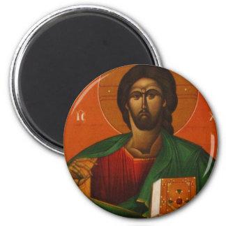 GREEK ORTHODOX ICON JESUS CHRIST 6 CM ROUND MAGNET