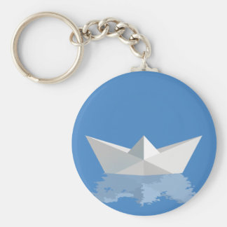 Greek PAPER BOAT Basic Round Button Key Ring