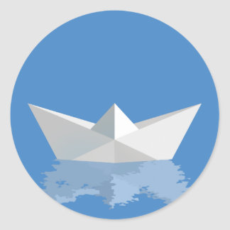 Greek PAPER BOAT Classic Round Sticker