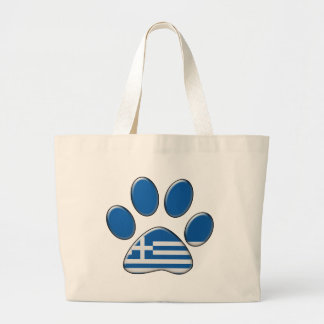 Greek patriotic cat large tote bag