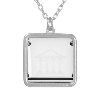 greek pillars silver plated necklace