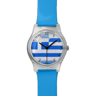 Greek polished blue and white watch