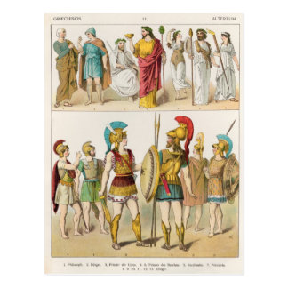 Greek Religious and Military Dress Postcard