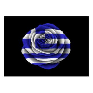 Greek Rose Flag on Black Business Cards