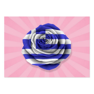 Greek Rose Flag on Pink Business Cards