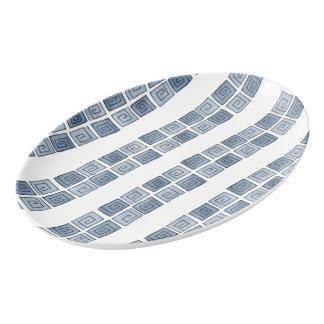 Greek Spiral - blue-grey mono Porcelain Serving Platter