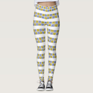 Greek Spiral Stripe - blue-gold Leggings