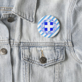 Greek stripes flag 6 cm round badge