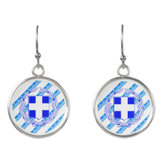 Greek stripes flag earrings