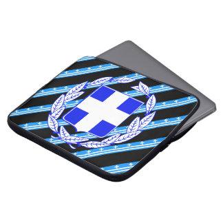 Greek stripes flag laptop sleeve