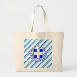 Greek stripes flag large tote bag