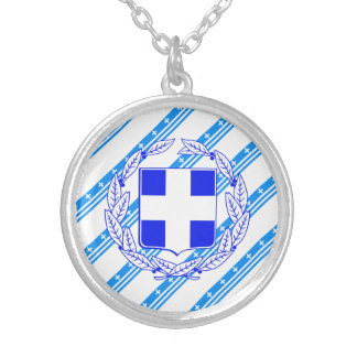 Greek stripes flag silver plated necklace