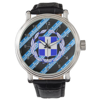 Greek stripes flag watch