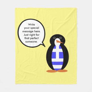 Greek Talking Penguin Flag Fleece Blanket