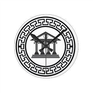 Greek temple round clock