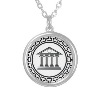 Greek temple silver plated necklace