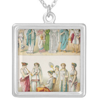 Greek Theatrical Dress Silver Plated Necklace