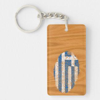 Greek touch fingerprint flag Double-Sided rectangular acrylic key ring