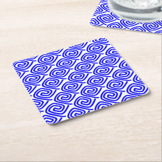 Greek Traditional Blue White Meander Fret Pattern Square Paper Coaster