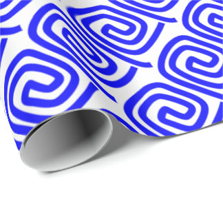 Greek Traditional Blue White Meander Fret Pattern Wrapping Paper