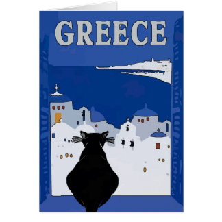 Greek Travel, black Cat Card