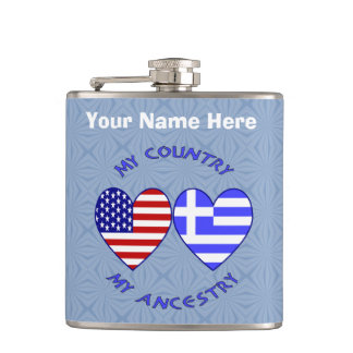 Greek USA Country Ancestry Flask