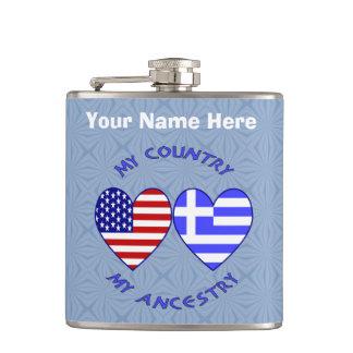 Greek USA Country Ancestry Hip Flask