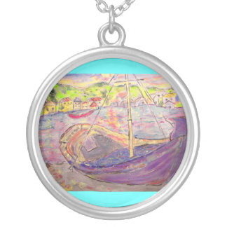 greek village sunset silver plated necklace