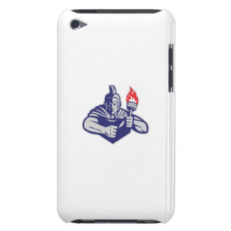 Greek Warrior Holding Flaming Torch Retro iPod Touch Covers