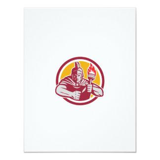 Greek Warrior Torch Circle Retro 11 Cm X 14 Cm Invitation Card