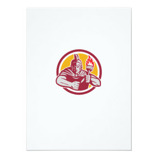 Greek Warrior Torch Circle Retro 14 Cm X 19 Cm Invitation Card