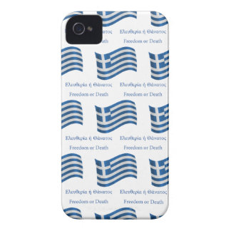 Greek waving Flag and Motto iPhone 4 Case