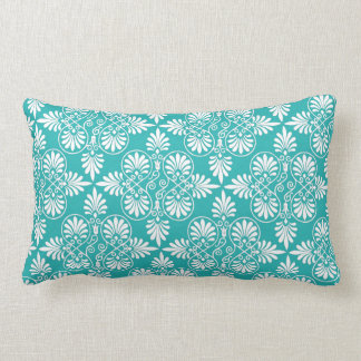 Greek White Teal Pattern Ancient Decorative Accent Lumbar Cushion