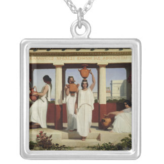 Greek Women at the Fountain, 1841 Silver Plated Necklace