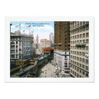 Greeley Square Broadway New York City 1921 14 Cm X 19 Cm Invitation Card