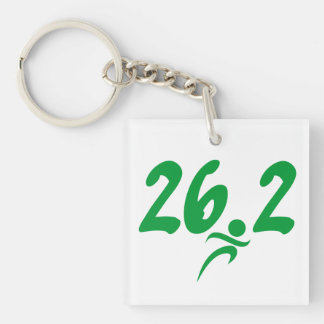 Green 26.2 marathon Single-Sided square acrylic key ring