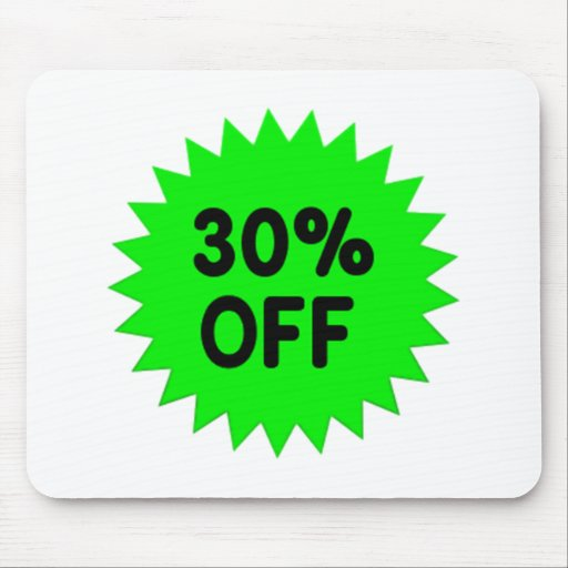 Green 30 Percent Off Mouse Pads
