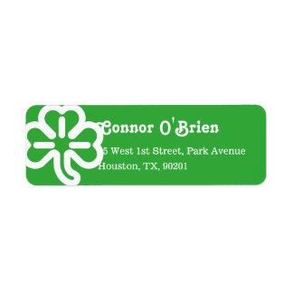Green 3 Leaf Shamrock Clover Irish St Patricks Day Return Address Label