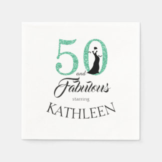 Green 50 and Fabulous Birthday Party Custom Name Disposable Napkin