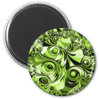 Green abstract 6 cm round magnet