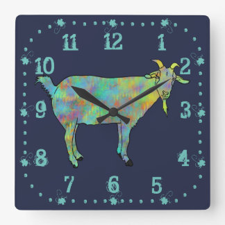 Green Abstract Art Goat Colourful Animal Design Square Wall Clock