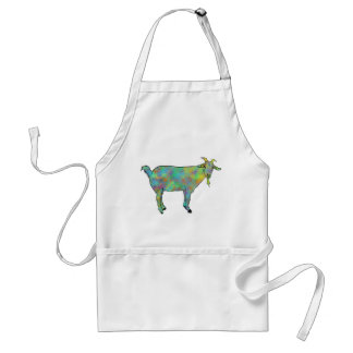 Green Abstract Art Goat Colourful Animal Design Standard Apron