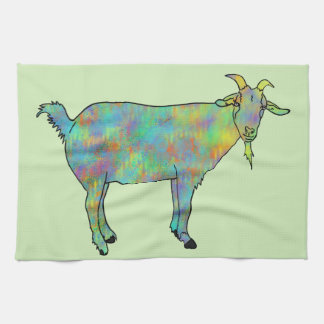 Green Abstract Art Goat Colourful Animal Design Tea Towel