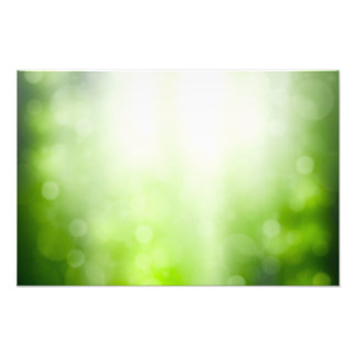 Green Abstract Background With Bokeh And Sun Rays Photo Print