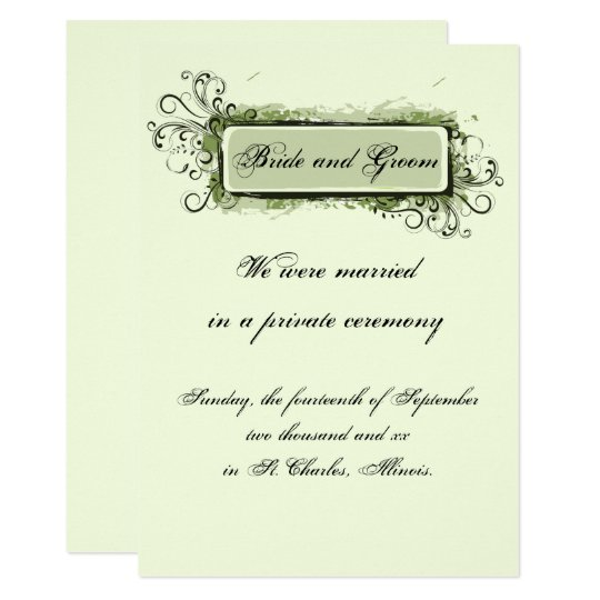 Green Abstract Floral Marriage Announcement