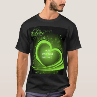 Green Abstract Heart Basic Dark T Shirt